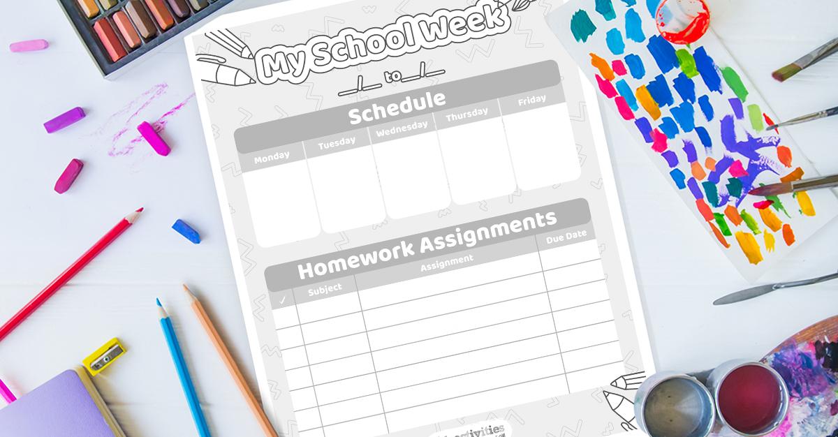 Weekly Homework Calendar Coloring Pages Free Printable ...